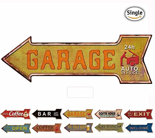 Garage Sign (HANTAJANSS Garage Signs with Auto Service Retro Metal Signs for Wall Decoration)