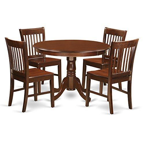Round Wood Dinette - East West Furniture HLNO5-MAH-W 5Piece Hartland Set with One Round 42in Small Table & 4 Dinette Chairs with Wood Seat in a Beautiful Mahogany Finish