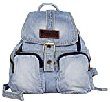 SAIERLONG Women's And Girl's Denim Backpack Jean School Bag Travel Bag Light Blue