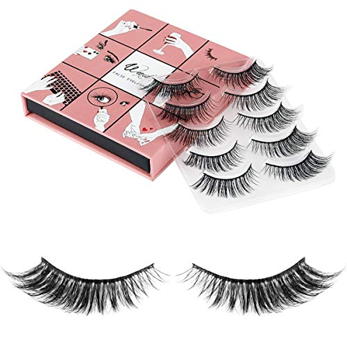 3D Fake Eyelashes WENIDA 5 Pairs 100% Handmade Reusable Dramatic Thick Crisscross, Nature Fluffy False Eyelashes