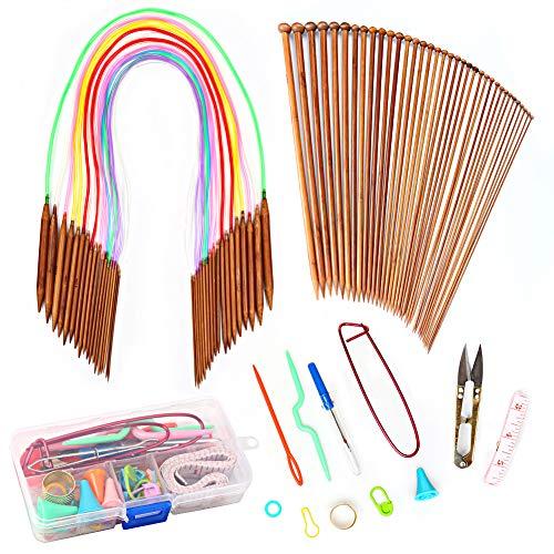 Needles Knitting Bamboo Straight (120PCS Knitting Needles Set - 18 Pairs 18 Sizes Bamboo Knitting Needles with Colorful Tube + 36 Pcs Long Single Pointed Bamboo Knitting Needles 2.0 mm-10.0 mm + Weaving Tools Knitting Kits)