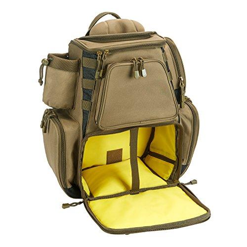 Piscifun Fishing Tackle Backpack Large Capacity Waterproof Fishing Tackle Bag with Protective Rain Cover Khaki