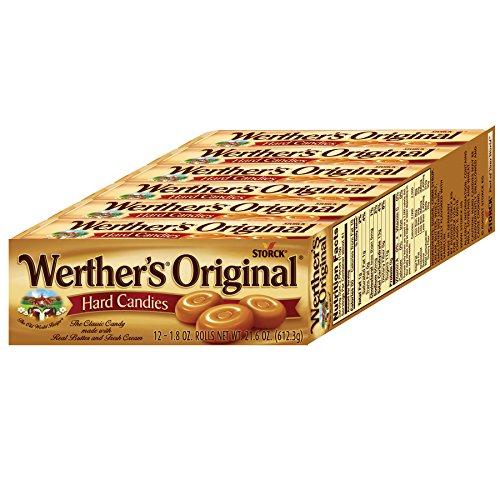 WERTHER'S ORIGINAL Caramel Hard Candies, 1.8 Ounce Rolls (Pack of 12), Hard Candy, Bulk Candy, Individually Wrapped Candy Caramels, Caramel Candy Sweets, Hard Candy Bulk -