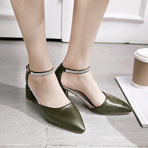 Heel Mee Green Elegant Shoes Court Women's Buckle Shoes Mid Block qrqUYw4
