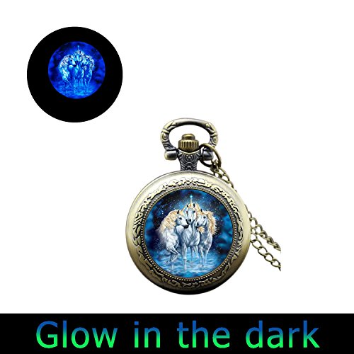 Glowlala glowing Unicorn pocket watch Necklace Unicorn watch Jewelry Magical Unicorns Fairytale bronze watch Necklace Horse watch Necklace