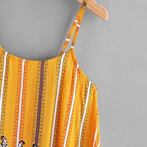 imbracatura maglietta spiaggia canotte irregolare strisce casual camicetta stampato senza sciolto maglietta Adeshop vest elegante giallo maniche nappa top piccolo donne qRPZcT1