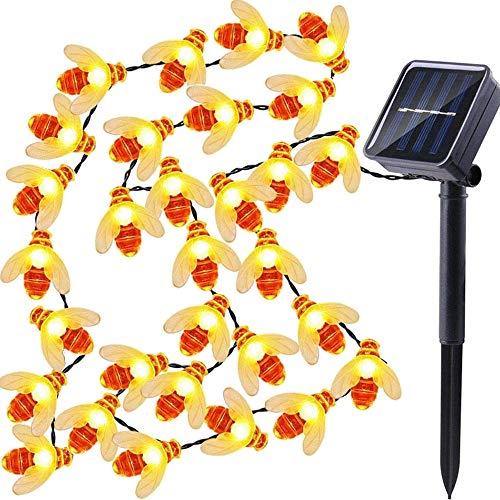 dephen LED String Lights, 30 LED Honey Bee Shape, 20ft Solar-powered Fairy Lights, Waterproof LED Strand Lights Garden Wedding, Party, Garden Outdoor Decorations