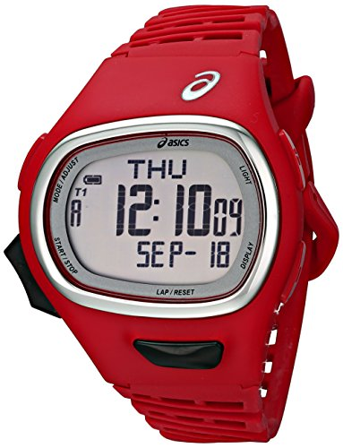 Digital Sports Watch Waterproof –  Asics Unisex CQAR0603 Digital Sports Watch Waterproof With Red Band