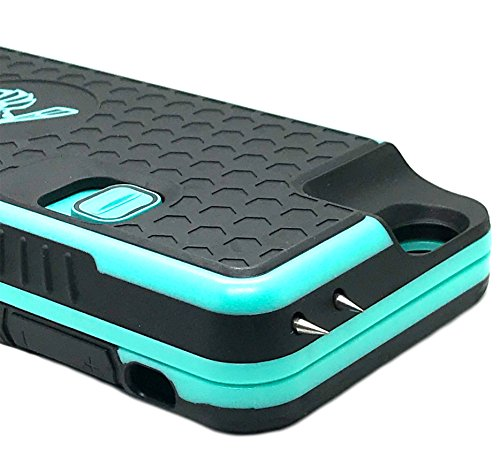 The Only High-Powered Stun Gun that Protects, Recharges Your iPhone 6,6s - Concealed Inside a Durable Weatherproof Case - Flexibility to Attach or Detach - 4.0mAh for Maximum Self Defense - Teal (Phone Case With Taser And Pepper Spray)