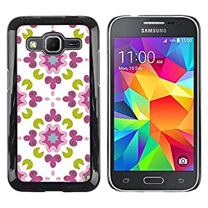 Paccase / SLIM PC / Aliminium Casa Carcasa Funda Case Cover para - White Green Pattern Floral - Samsung Galaxy Core Prime SM-G360