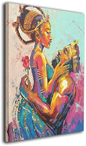Arnold Glenn African American King and Queen Crown Rose Love Afro Picture Paintings Canvas Wall Art Prints Modern Decorative Giclee Artwork Wall Decor-Wood Frame 20″x24″