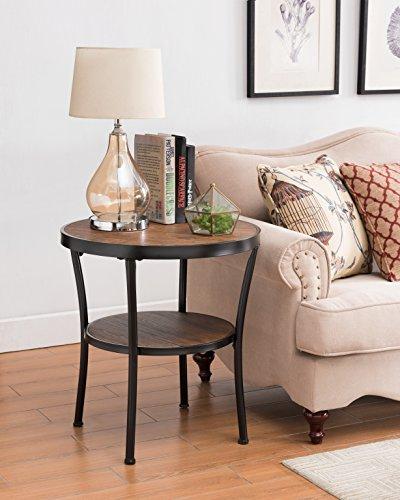 Vintage Brown / Black Frame 2-tier Round Side End Table Nightstand - Black Frame Vintage
