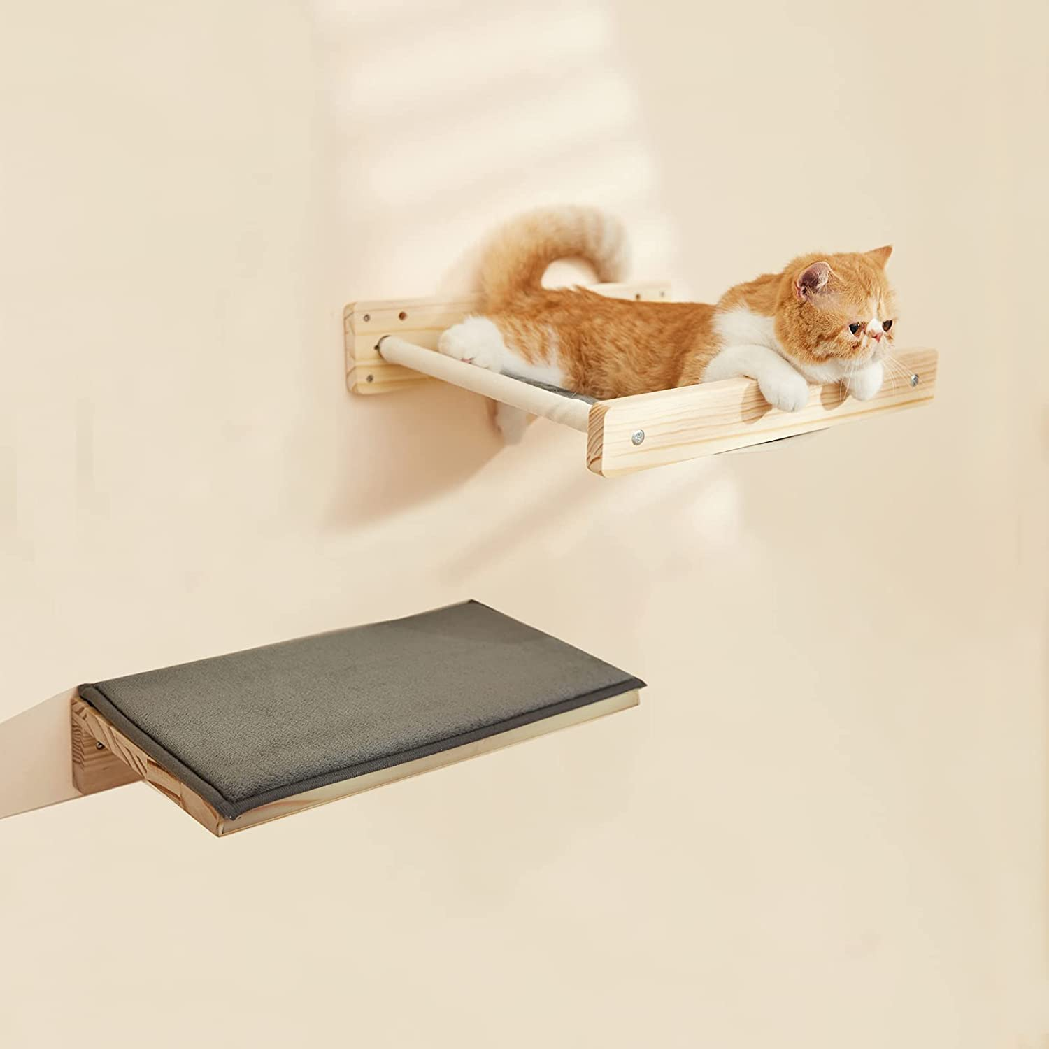 SIMPLY + 2 in 1 Cat Hammock Wall Mounted Wall Shelf with Mat for Large Cats, Cat Shelves Bed and Perches for Wall-Indoor Cats Furniture for Sleeping, Playing, Climbing, Lounging-Hold Up to 44-66 lbs