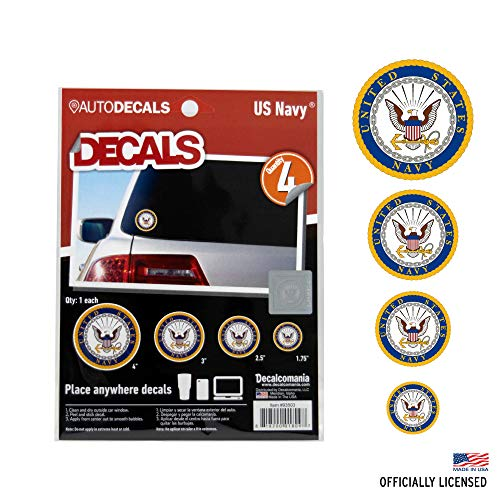 Officially Licensed U.S. Navy Decals - 4 Piece US Military Stickers for Truck or Car Windows, Phones, Tablets & Laptops - Large Military Decals 1.75 to 4 Inches - Car Decals Military Collection