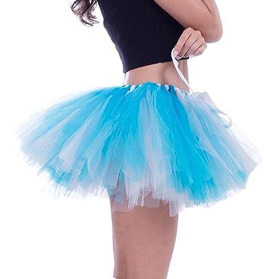 ace900c00c FEOYA - Mujer Faldas Tutú Cortas de Ballet Danza Disfraces de Tul Hinchada  Enaguas de Múltiples Capas para Fiesta Carnaval con Gasa Suave - Colorido  3  ...