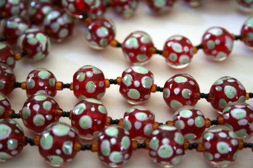 Christmas Round Red With Spot Decos Lampwork Glass Beads(Pack of 12 - Glass Lampwork Bead Spots