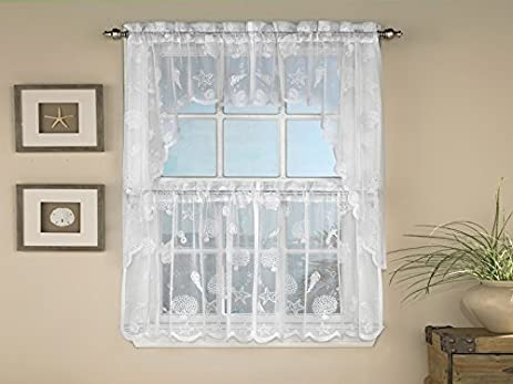 Sweet Home Collection Reef Marine Knitted Lace Kitchen Curtains, 36u0026quot; X  56u0026quot; ...