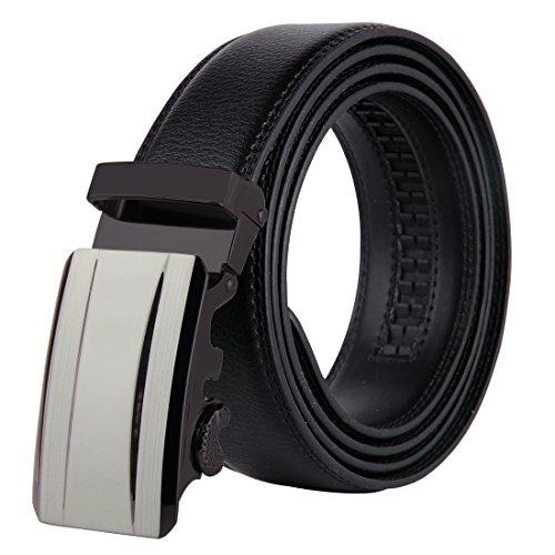 35 Leather (JINIU Men's Leather Belt Automatic Buckle 35mm Ratchet Dress Black Belts Boxed KT16)