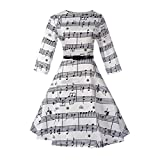 FDelinK Women's 50s Vintage Music Notes Tea Cocktail Dress Party A-Line Midi Swing Dress (Black, M)