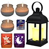 SPECIAL CANDLE KIT with DECORATIVE LED LANTERN with Flickering LED Candle Lanterns Decorative Outdoor Lanterns For Candles - Vintage Decorative Lanterns for Indoors- Hanging Lanterns AAA Battery Oper
