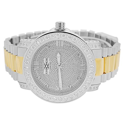 Techno Pave Mens Gold-Tone Stainless Steel White and Yellow Watch with Iced out Stainless Steel Metal Band
