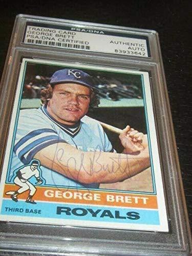 George Brett Autographed Signed 1976 Topps Baseball Card PSA Slab Kansas City Royals - Certified Signature ()