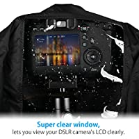 Powerextra Professional Waterproof Camera Rain Cover Protector for Canon Nikon Sony Pentax and Other Digital SLR Cameras, Great for Rain Dirt Sand Snow Protection (Black) from Powerextra