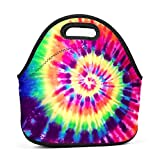 MAOXIANDER Tye Dye Rainbow 2 Reusable Lunch Tote Bag Travel School Lunch Boxes for Adults Kids
