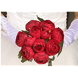 Jili Online Artificial Silk Camellia Flower Bridal Wedding Party Handtied Bouquet Real Touch Foral 4