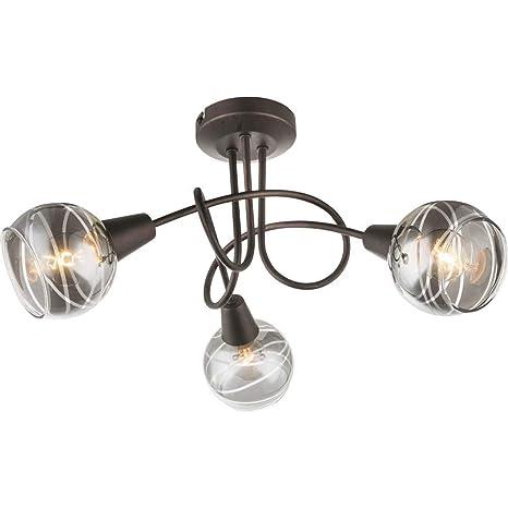 Plafón LED de 3 focos orientables de metal rústico con bombillas led 4W e14 incluidas