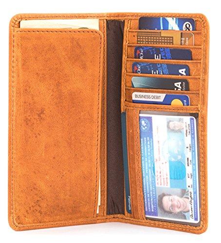 RAWHYD Full Grain Buffalo Leather Long Bifold Wallet For Men (Reddish Brown)