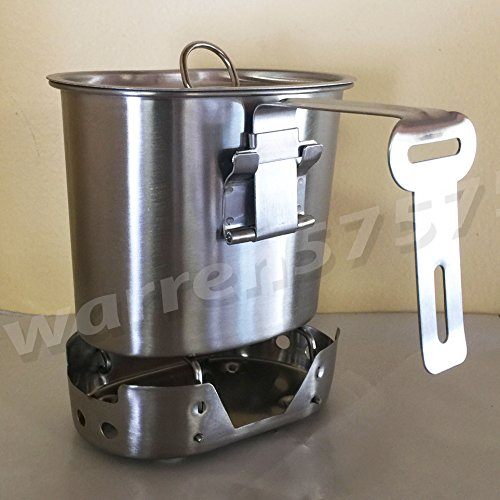 WWII STYLE Stainless Steel Canteen Cup with Foldable Handle and Vented LID Brand New Matte Finish. for 1qt. Style Canteens. With STAINLESS STEEL  CANTEEN CUP STOVE FOLDABLE. by G.A.K
