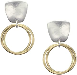 product image for Marjorie Baer Tapered Square with Interlocking Rings Clip on Earring in Brass and Silver
