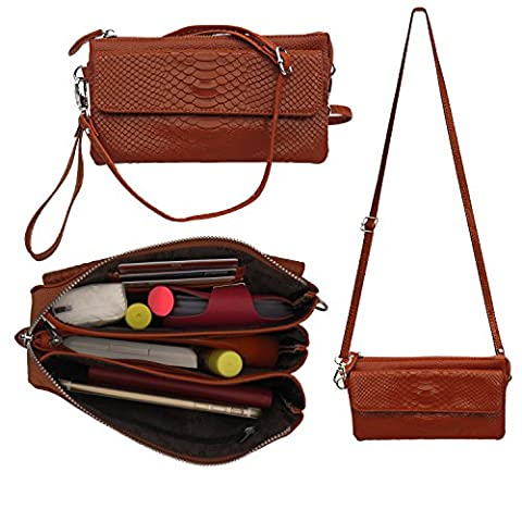 Leather Crossbody Purse ,Shalwinn Women's Genuine Leather Crossbody Purse Cellphone Pouch Purse Crossbody Bag Wallet Case Purse with Adjustable Strap for Smartphone iPhone Cards (Iphone 5 Cases Spike)