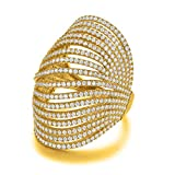 Serend Vintage Multilayer CZ Crystal 18k Yellow Gold Plated Joint Finger Ring for Cocktail Party, Size 7