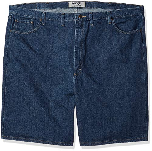 Wrangler Authentics Men's Big and Tall Classic Relaxed Fit Five-Pocket Jean Short, Dark Stonewash, 52 by Wrangler