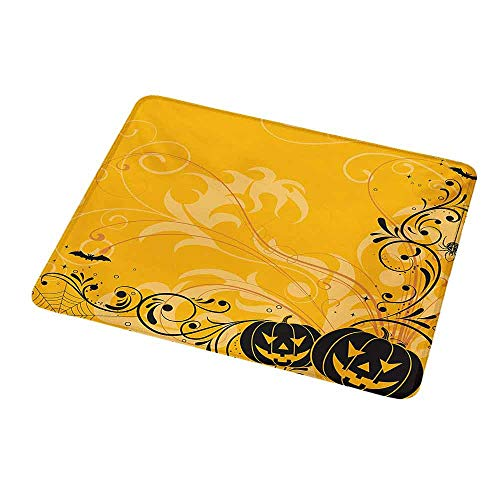 Natural Rubber Mouse Pad Halloween,Carved Pumpkins with Floral