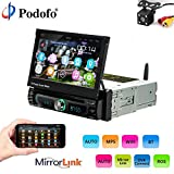 Podofo Car Stereo Single Din - Android 8.0 Auto-Radio 7' Touch Screen Radio Player with Bluetooth and Backup GPS Navigation Unit in-Dash CD/DVD Player FM/AM AUX/USB/MP3/MP4