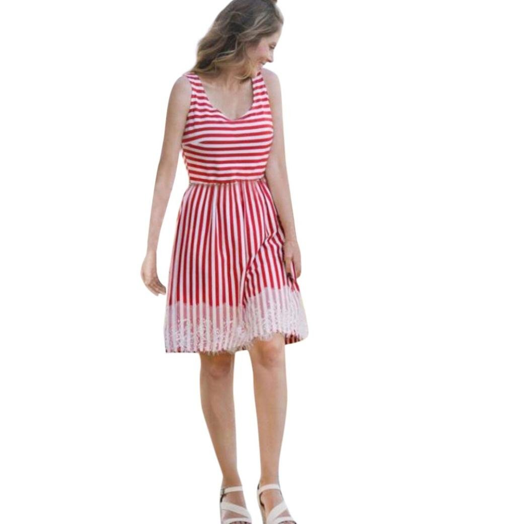 Spbamboo Women Striped Print Lace Sundress Vest Slim Dress Family Clothes Cute