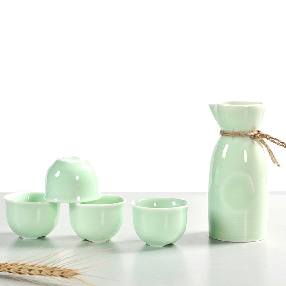 Sake Set Japanese Sake Cup Set Traditional Hand Painted Design Porcelain Pottery Ceramic Cups Crafts Wine Glasses 5 Piece (Green Elegant)