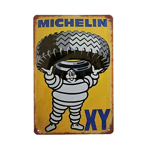 (Michelin Tyres Retro Vintage Tin Sign, Wall Metal Posters for Home Garage Man Cave Gas Station, 8x12 Inch/20x30cm)