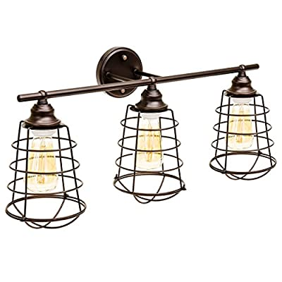 Best Choice Products Industrial Style, 3 Light, Bathroom Vanity Light Fixture (Bronze) - Over-the-vanity 3-light fixture made with a modern industrial design for a chic addition This industrial-style vanity light is designed with wall mount applications perfect for placement in your bathroom ETL-listed light constructed of durable metal with a coffee bronze finish, ensuring modern lighting for years to come - bathroom-lights, bathroom-fixtures-hardware, bathroom - 51H%2B6Kd2nkL. SS400  -