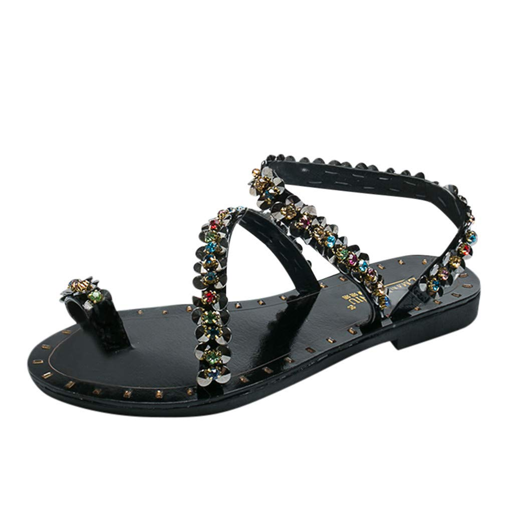 ZOMUSAR New! 2019 Sandals Female Summer Rhinestone Flat Bottom Beach Shoes Casual Shoes