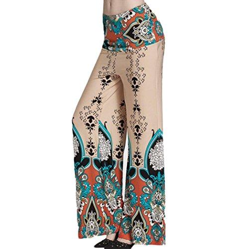 Hot Pants!Elevin(TM)2017 Women Ladies Summer High Elastic Waist Print Floral Sport Wide Leg Pants Trousers (M, Khaki)