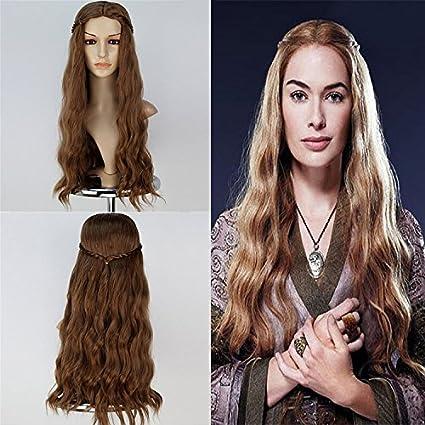 thatsyou mujeres peluca de pelo cosplay peluca juego de tronos Cersei Lannister largo ondulado oscuro oro