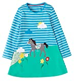 MISSHALO Embroided Printed Pattern Stripe Casual Cotton Longsleeve Applique Girls Dresses(160Blue,6T/6-7YRS)