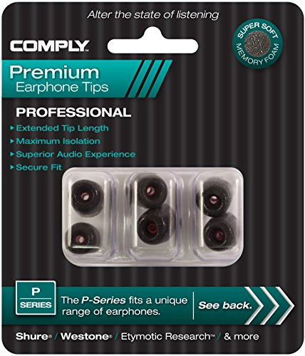 Large Product Image of Comply Professional Noise Isolating Earphone Tips for NuForce, Q-Jays, Beyerdynamic Byron, Etymotic Research, Westone, Shure, & More P-Series Memory Foam Replacement Earbud Tips (Medium, 3-pair)