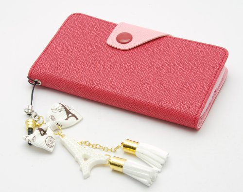 ZZYBIA® S4 LMZT Shocking Pink Leatherette Case Card Holder Wallet with a Eiffel Tower Fringed Dust Plug Charm for Samsung Galaxy S4 IV I9500 I9505