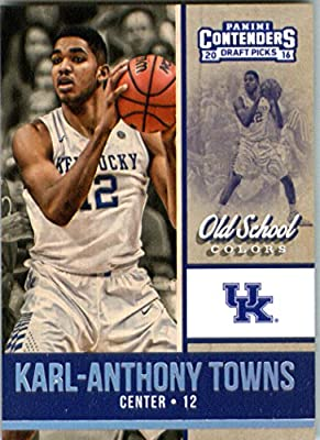 2016-17 Panini Contenders Draft Picks Old School Colors #11 Karl-Anthony Towns Kentucky Wildcats Basketball Card in Protective Screwdown Display Case