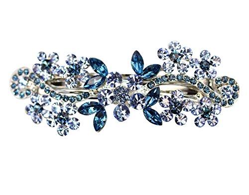 Faship Gorgeous Crystal Floral Barrette (Navy Blue) - Navy Blue